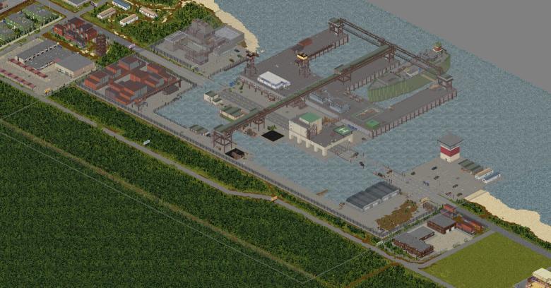 Порт расположен по левую сторону от за топленой части Нью-Денвера